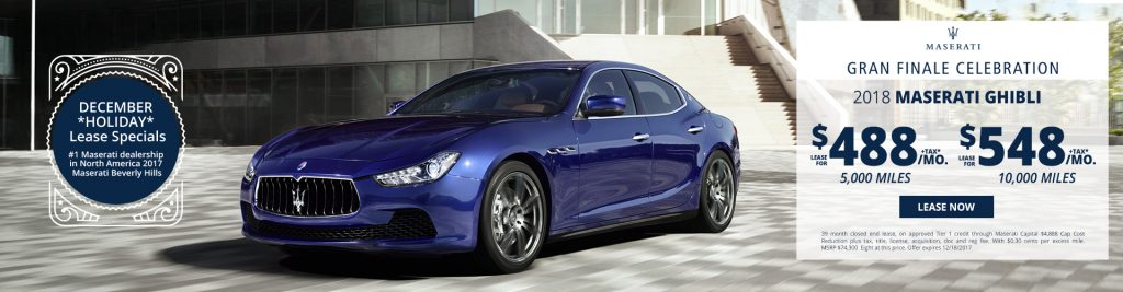 New Maserati Ghibli lease specials available at Beverly Hills Maserati near Burbank