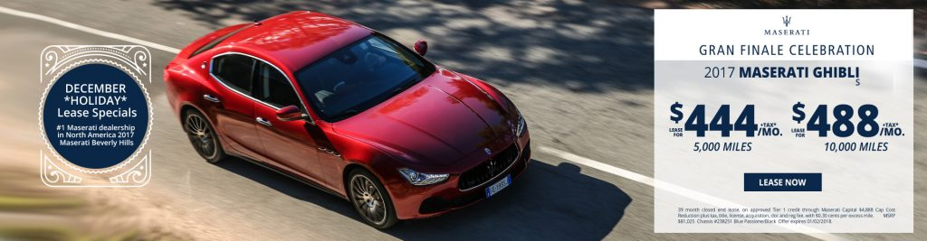 New Maserati Ghibli S lease specials available at Beverly Hills Maserati near Burbank