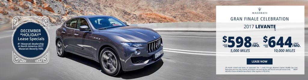 New Maserati Levante S lease specials available at Beverly Hills Maserati near Burbank