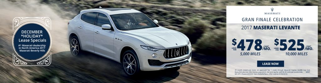 New Maserati Levante lease specials available at Beverly Hills Maserati near Burbank