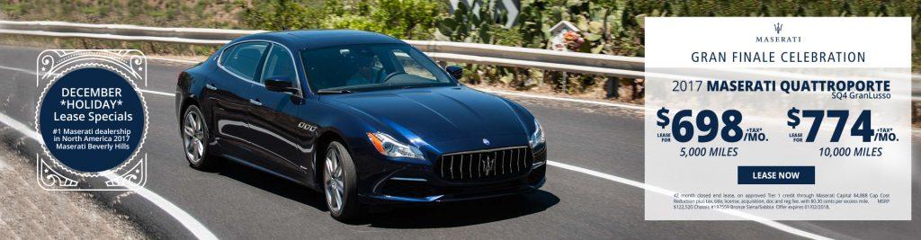 New Maserati Quattroporte S Q4 GranLusso lease specials available at Beverly Hills Maserati near Burbank
